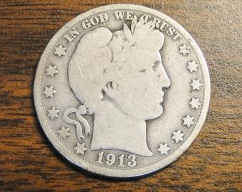 1913s Barber Half Dollar - Nice Old Coin! - A
