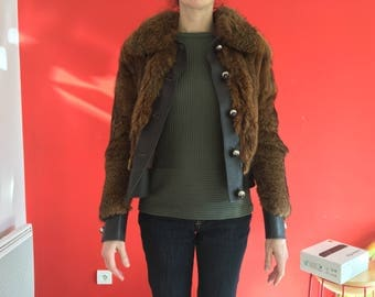 Fox and brown leather bomber jacket