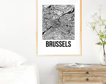 Brussels City Map Print - Black and White Minimalist City Map - Brussels Map - Brussels Art Print - Many Sizes/Colours Available