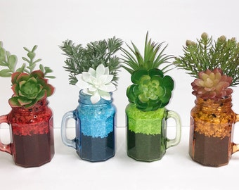 Faux Succulent Planters in Colored Glass, Desk Accessory, Succulent Arrangement, Tabletop Decoration, Succulent Gift
