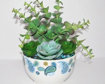 Blue Paisley Faux Succulent Planter, Desk Accessory, Succulent Garden, Succulent Arrangement, Indoor Planter, Succulent Gift