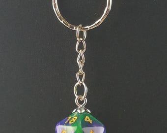 D20 Dice Dungeons & Dragons RPG Fantasy Green Purple Swirl Keychain