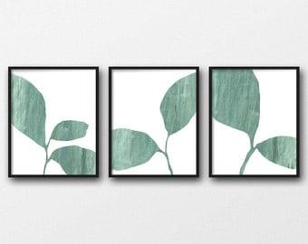 Botanical Print Set, Triptych Wall Art, Abstract Plant Art, Scandinavian Art, Leaf Print Set of 3 Prints, Fine Art Prints, Green Leaf Print