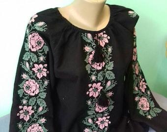Ukrainian blouse/Vyshyvanka/Peasant blouse/Ukrainian clothing embroidered/women's clothing/Beautiful black embroidered ukrainian blouse