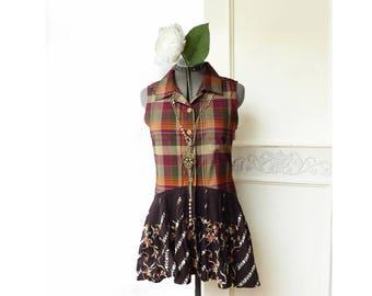 Upcycled Boho shirt tunic, orange brown plaid, button down top, brown high low peplum, lagenlook, size small medium, sleeveless