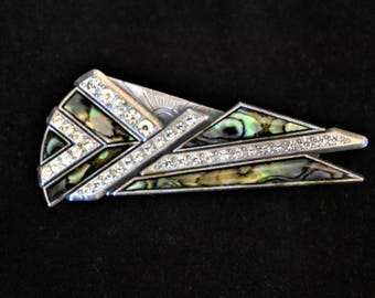 """Vintage Duri Geometric Art Deco Revival Statement Brooch Signed Rhinestone Coat Sweater Pin Abalone Shell Silver Tone 3"""""""