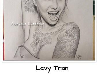 graphite pencil portrait of Levy