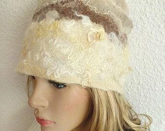 Cap winter accessories handgefilzt warm white beige tones design gift ideas women