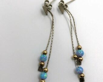 Beautiful, Delicate Opal Bead and Silver Dangle, Drop Earrings - Pierced Ears