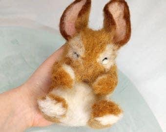 Little brown bunny- needlefelted soft sculpture, needlefelt rabbit