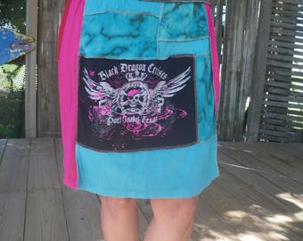 T-skirt Black Dragon Pirate Pink #103