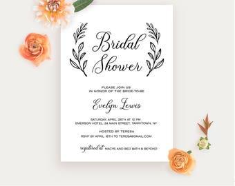 Bridal Shower Invitation Printable, Wedding Shower Invite Template, Rustic Bride, Instant Download, Fully Editable, Digital #027-123BS