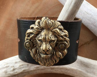 Lion Head Black Leather Cuff Bracelet, Rustic, Leo, Decorative Leather, King of the Jungle