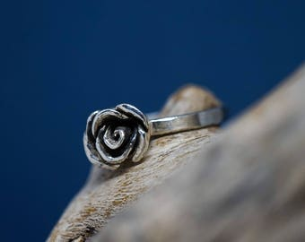 Sterling Silver .925 Rose Ring, dainty rose ring