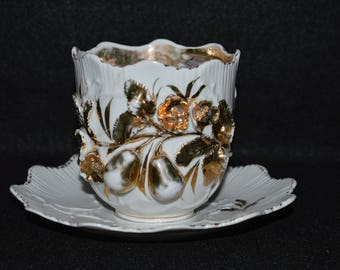 Gilded Moustache Cup with Matching Saucer, Raised Pears Design in Gold, Porcelain Victorian Moustache Teacup and Plate, Golden Pears Design