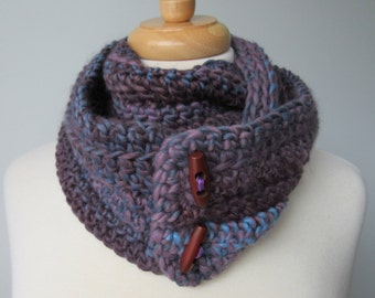 Purple Cowl / Scarf with Wooden Buttons