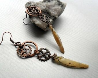 Steampunk Copper Earrings, Steampunk Jewellery, Gothic Earrings, Wire Wrapped Earrings, Copper Jewellery, Shell Earrings, Handmade