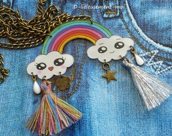 Kawaii cloud bronze metal chain necklace Choker necklace and Rainbow plastic crazy crazy charms and PomPoms