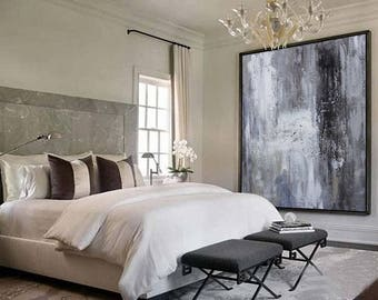 Large original abstract oil painting, Contemporary Art, Hand-painted Large wall Art, decor, Black white Oil painting grey, large canvas art