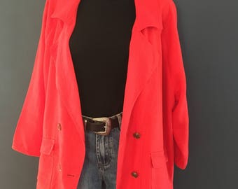 Plus size Red linen jacket