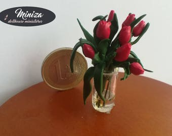 Miniature red tulips, 1:12 scale