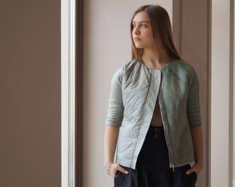 Jacket Green jacket Jacket-Season Jacket for Women Hand-Knitted Geometric Pattern Middle Sleeve Colored Lining Metal Lock Designer Wool yarn