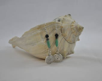 Magnesite earrings, Green earrings, Black earrings, Silver earrings, Silver jewelry, Dangle earrings