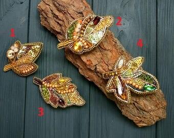 Leaves Brooch Leaves Jewelry Leaf Brooch Autumn Jewelry Fall Autumn Leaf Forest Jewelry Nature Jewelry Embroidery Brooch Leaf Jewelry