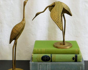 2 Vintage Solid Brass Crane Figurines, Stork, Pelican, Heron, Egret, Gift for Bird Lover, Library, Sunroom, Patio, Coastal Living, Decor