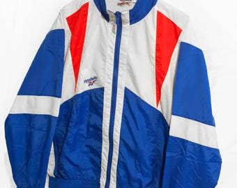 Rare Vintage 90s Reebok Windbreaker jacket Big logo Spell Out White/Blue/Red  Size M/L