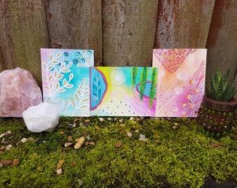 Abstract paintings - Botanical art - Tiny art - Set of paintings - gypsy style - boho interior - shelfie - art print