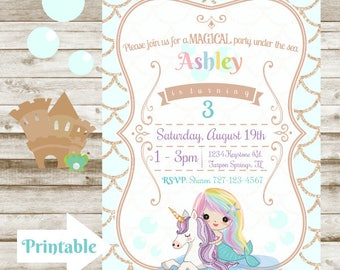Magical Rainbow Mermaid and Unicorn Birthday Invitation - Printable