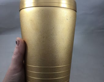 Vintage Midcentury Mirro Aluminum Metallic Gold Cocktail Shaker