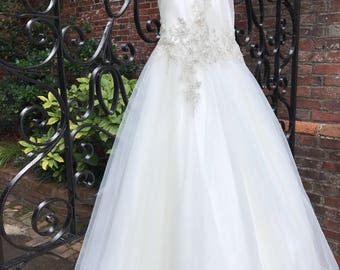 16/ Illusion Ballgown Tulle Wedding Gown / Silver Beads Bodice / Tulle Wedding Gown / Beaded and Crystal Appliqués / Size 16/ Tulle Chapel