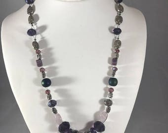 Ethnic Handmade Beaded Purple Amethyst Glass Pewter Shell Statement Boho Necklace