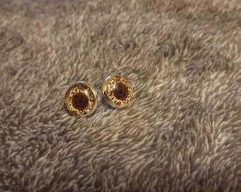 12mm Glass Floral Homemade Earrings