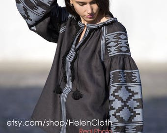 Bohemian Linen Vyshyvanka Ukraine Blouse Ethnic Embroidery Mexican Blouse. Free shipping