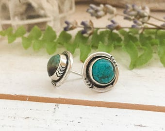 Silver turquoise stud earrings - stamped sterling & fine silver, vintage, handmade, navajo native-american style, bohemian gifts for her