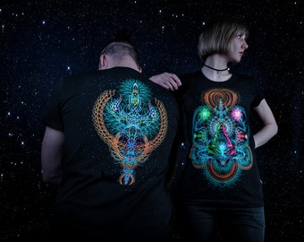"T-Shirt ""Depths of Space"", fluorescent glow, shiva, trishula, blacklight, psytrance, party, festival, psychedelic, trancewear, visionary art"