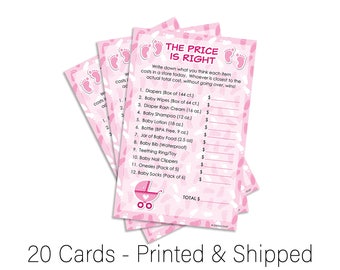 It's a Girl The Price Is Right Baby Shower Game, The Price Is Right Game, Pink and White Price Is Right, Girl Baby Shower Game (Set of 20)