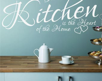 The Kitchen Is The Heart Of The Home Decor Wall Quote Matt Vinyl Art Sticker Decal  Hearts *20 colours*