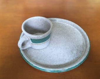 Vintage Pottery Craft Mug & Plate