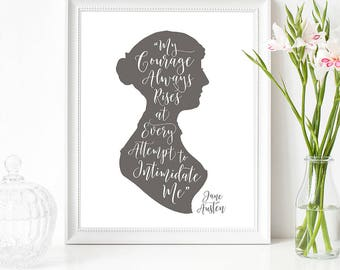 Literary art / Jane Austen gifts / Female empowerment / Feminist artwork / Lizzy Bennet / Have courage / Fast shipping to USA & UK