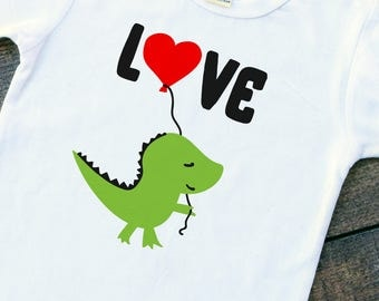 Dino love Valentine's Day baby boy bodysuit toddler tshirt