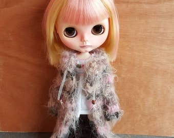 "Clothing: long vest pink mixed ""TRISTANA"" for dolhouse 1/6 (blythe, jecci five, icy doll pullip, BJD...)"