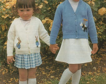 Baby and Toddlers Cardigan PDF Knitting Pattern . Boys and Girls 20, 22, 24 and 26 inch chest . Bunny Rabbit and Scotty Dog Motif . Download