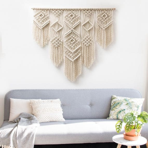 "Large Macrame Wall Hanging - Macrame Curtains - Macrame Wall Art - Macrame Patterns - Wall Tapestry - Macrame Headboard - Home Decor - ""ISA"""