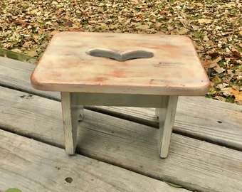 Vintage Hand Painted Rustic Step Stool, Stool, Step Ladder, Farmhouse, Kitchen  Stool