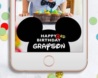 MICKEY MOUSE Birthday Snapchat GEOFILTER, Kids Birthday Snapchat Geofilter, Mickey Mouse Decor, Birthday Geofilter, Mickey Mouse Sign