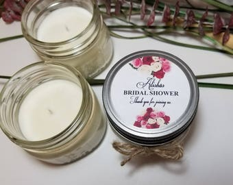 12 - 4 oz Personalized Bridal Shower Candles - Bridal Shower Favors - Wedding Candles - Custom Wedding Favors - Soy Candle Favors